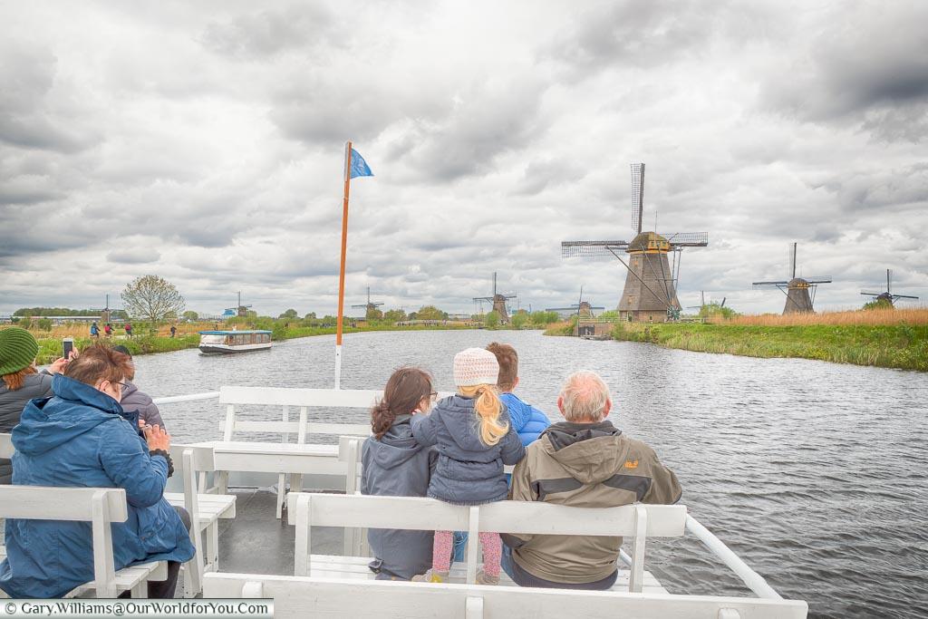 All aboard the tour boat, Kinderdijk, Holland, Netherlands