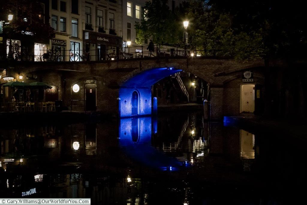 Blue bridges along the Oudegracht, Trajectum Lumen, Utrecht, Netherlands