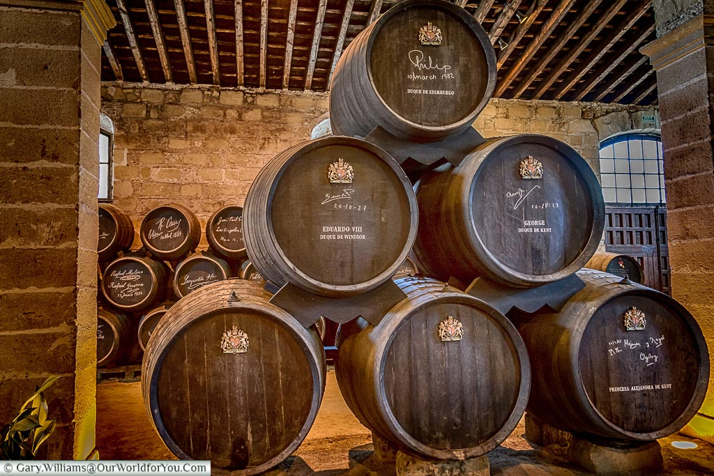 The barrels dedicated to members of the British Royal Family, Tio Pepe, Gonzalez Byass, Jerez, Spain