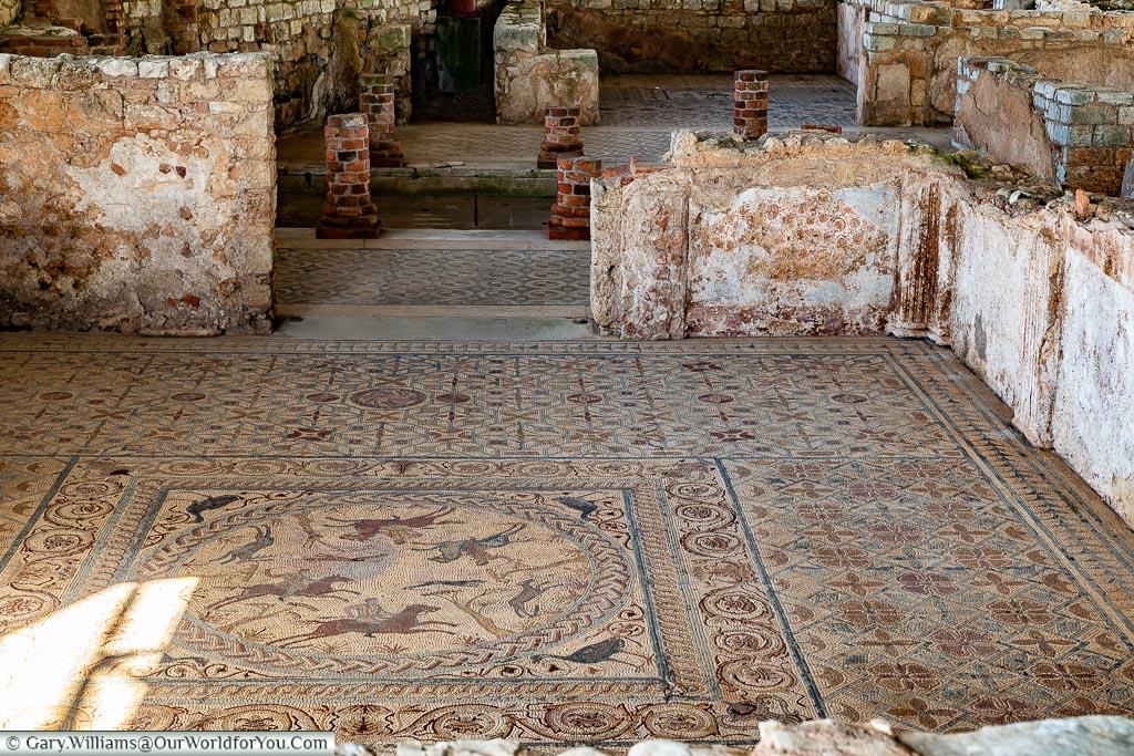 Detailed mosaic, Conímbriga, Portugal