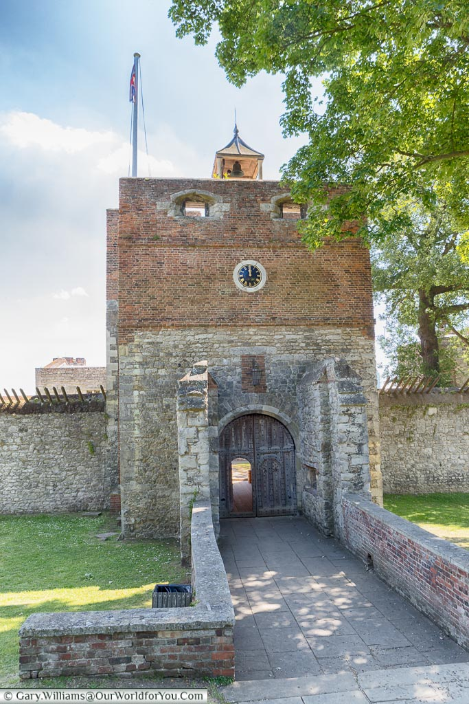 The brick & stone clock tower above the entrance to Upnor Castle