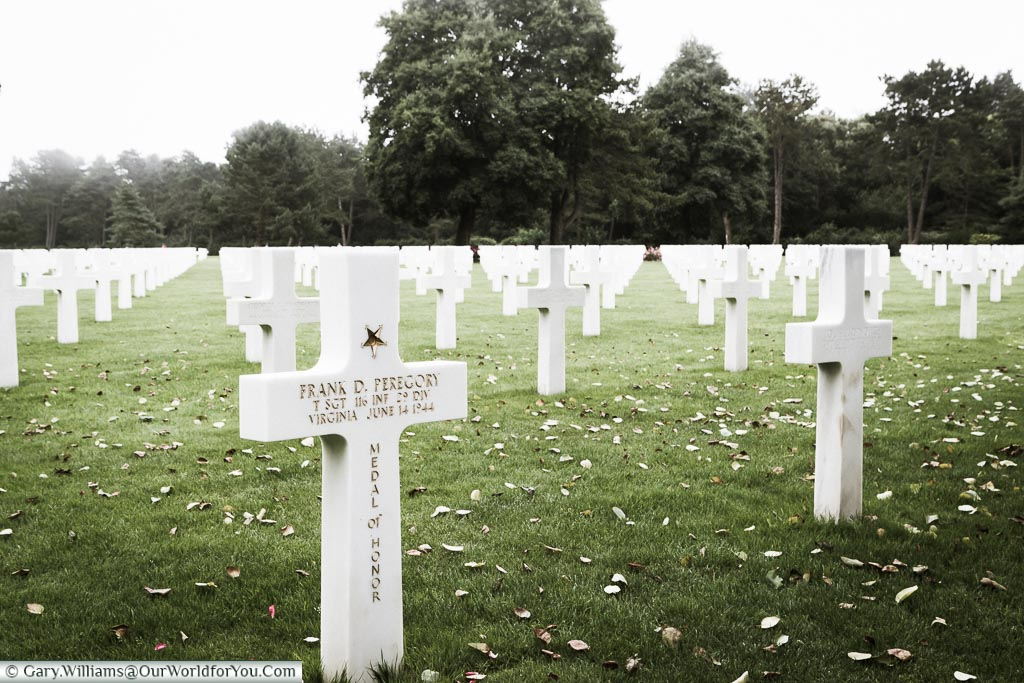 A field of headstones in the Normandy American Cemetery.  The cross of Frank D Peregory is decorated with a gold star and Medal of Honor inscription.