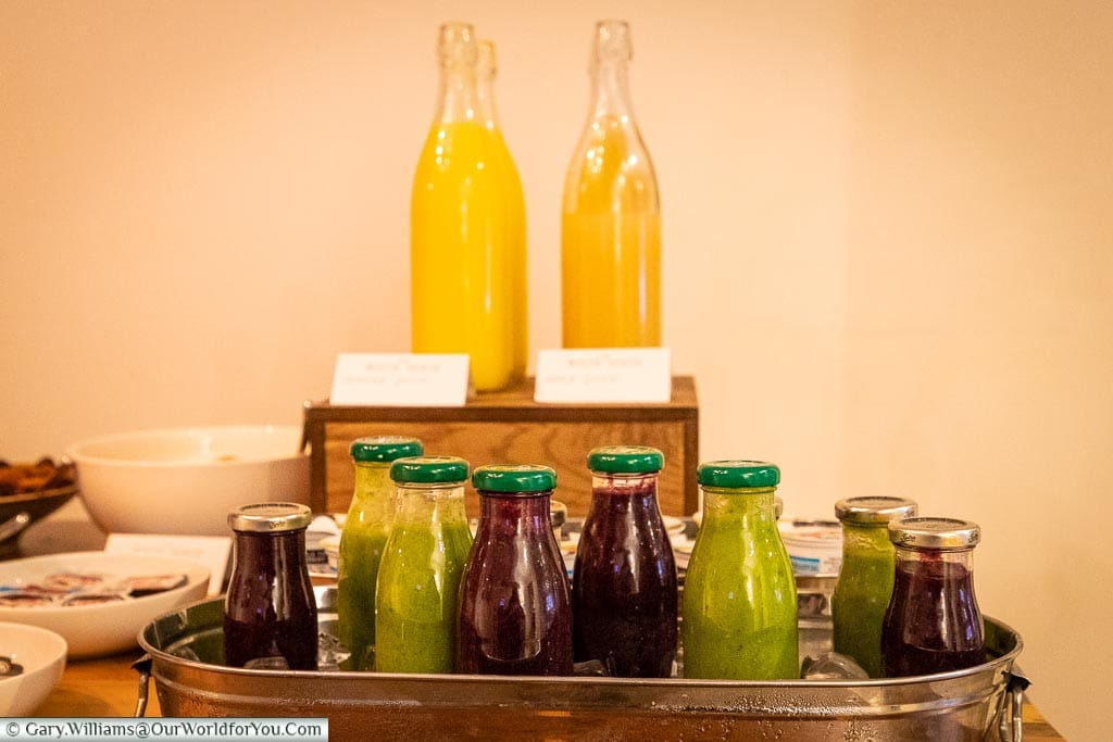 Fresh Juices & smoothies for breakfast, The White Horse, bespoke hotels, Dorking, Surrey, England, UK