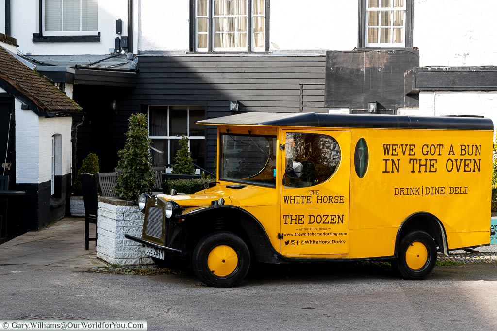 Gerald, the Deli-van, The White Horse, bespoke hotels, Dorking, Surrey, England, UK