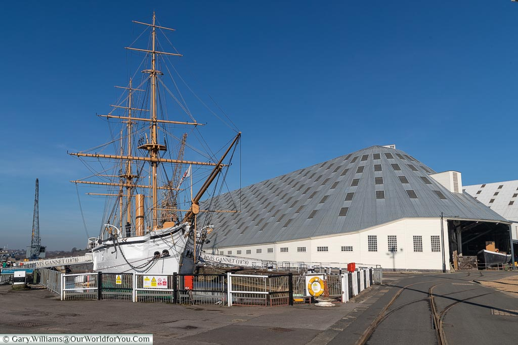 HMS Gannet at Historic Dockyard Chatham, Historic Chatham Dockyard, Kent, England, UK
