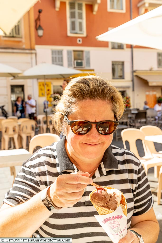 Janis tucking into an ice cream from Fenocchio in the centre of old Nice in the south of France