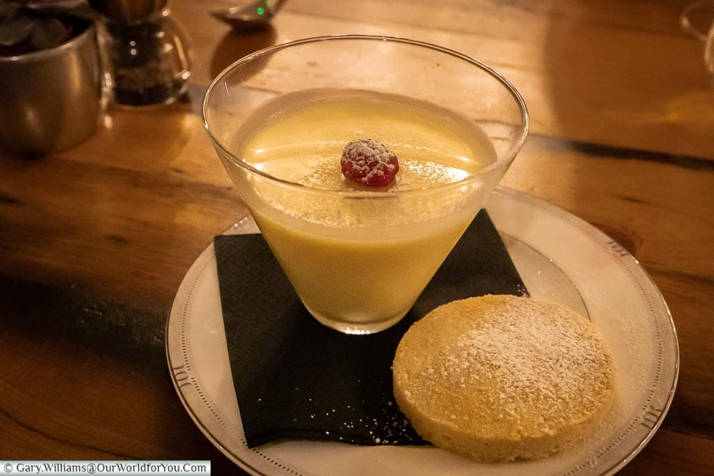 Lemon posset and shortbread, The Dozen Restaurant at the White Horse, bespoke hotels, Dorking, Surrey, England, UK