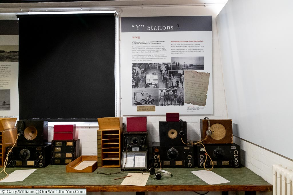 """A mock-up of a listing post designated a """"Y"""" station in the Block-B Museum at Bletchley Park"""