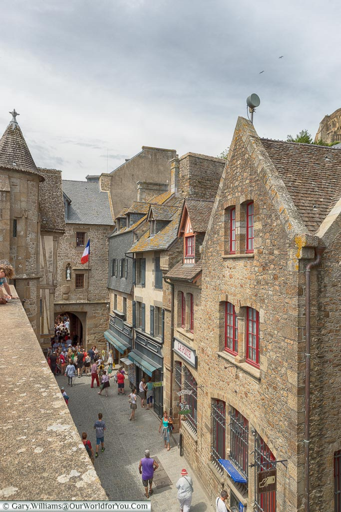 The view down from the ramparts to the tower gateway into the Grand Rue of Mont-Saint-Michel.