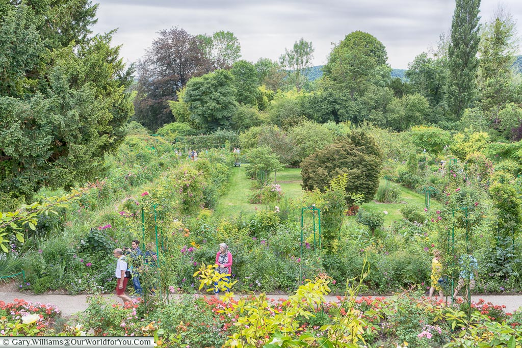 Looking down on the gardens, Giverny, Normandy, France