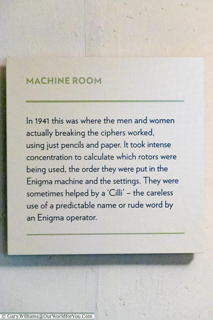 A sign for the Machine Room, a deciphering room within hut 6 at Bletchley Park.
