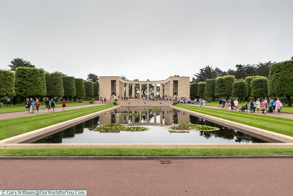 The reflective pond in front of the memorial at the  Normandy American Cemetery.