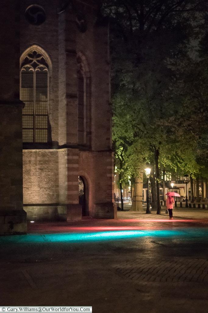 Pools of light at Janskerk, Trajectum Lumen, Utrecht, Netherlands