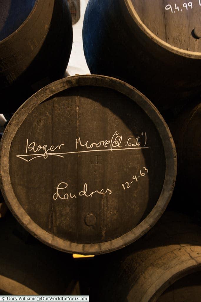 Roger Moore's barrel, Tio Pepe, Gonzalez Byass, Jerez, Spain