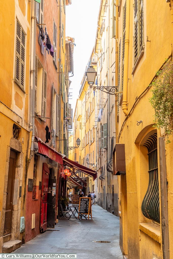 The narrow rustic lanes of the old town of Nice on the French Riviera