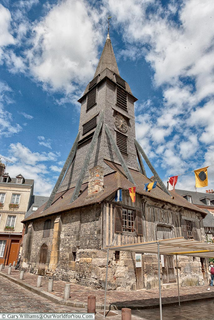 The wooden bell tower of Saint-Catherine's church in the town of Honfleur, Normandy