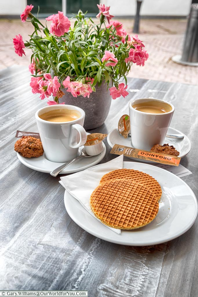 Stroopwafel and coffee, Gouda, Holland, Nethelands