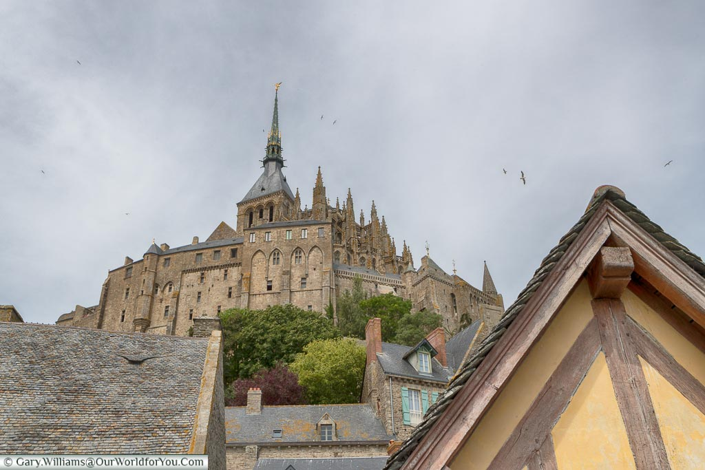 Looking up to the abbey on top of Mont-Saint-Michel Abbey from the lower levels.
