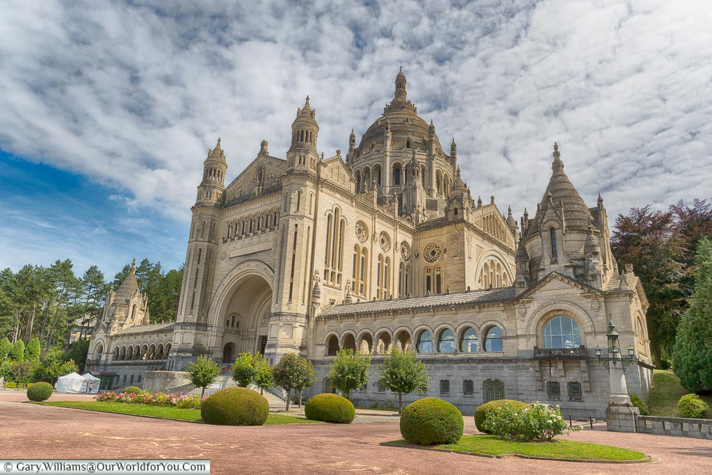 The outside of the Basilica of St. Thérèse of Lisieux, France's second most visited pilgrimage site after Lordes.