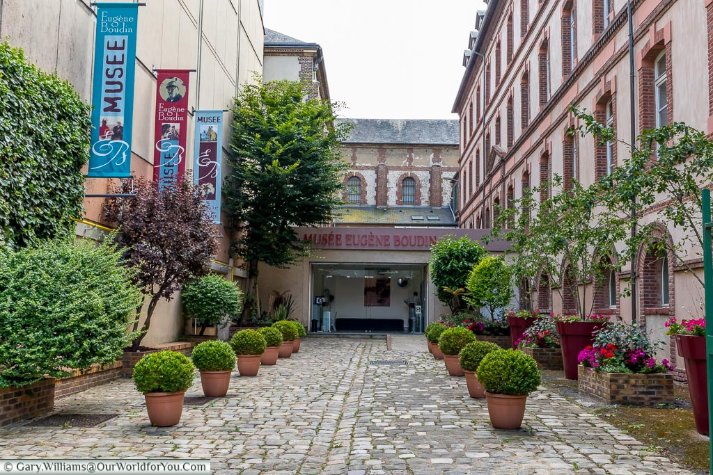 The courtyard in front of the Boudin Museum in Honfleur.