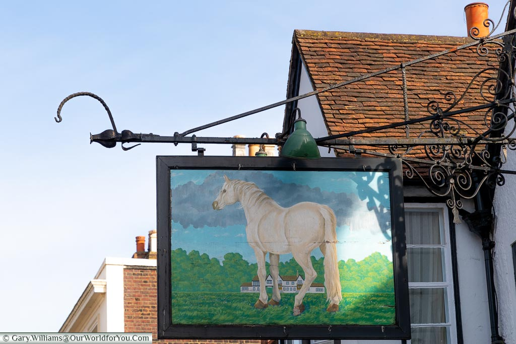 The Traditional White Horse pub sign, The White Horse, bespoke hotels, Dorking, Surrey, England, UK