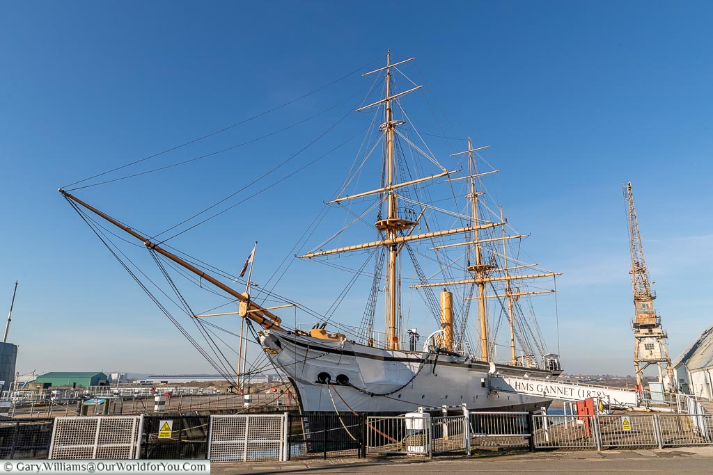 The elegant HMS Gannet, Historic Chatham Dockyard, Kent, England, UK