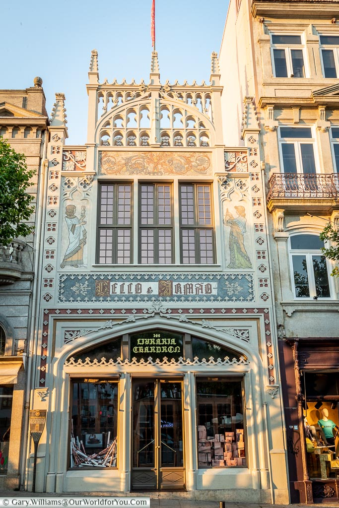 The exterior of Livraria Lello, Porto, Portugal