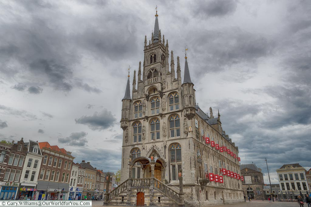 The tall, ornate, gothic Townhall set in its own square in the centre of Gouda