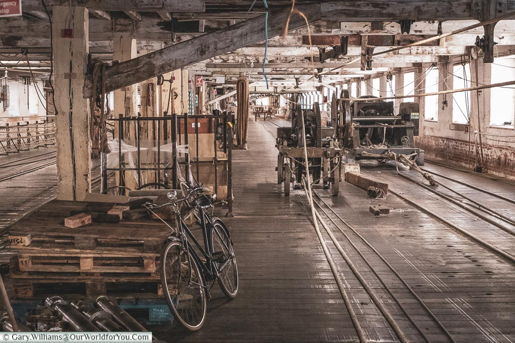 The only form of transport in the Ropery, Historic Chatham Dockyard, Kent, England, UK