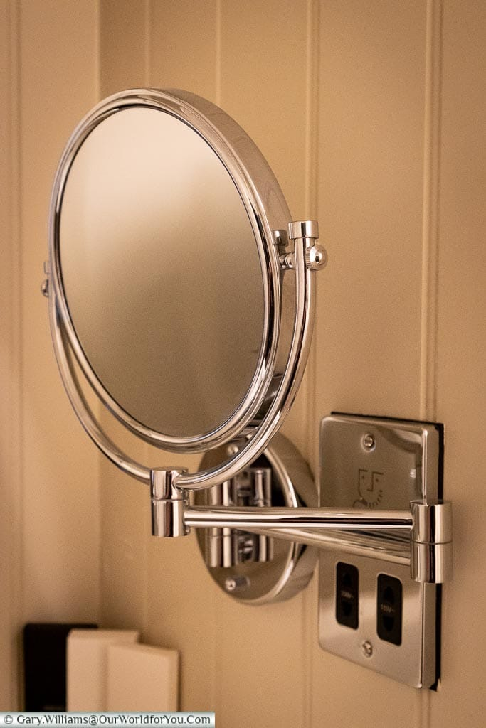 The shaving mirror - beautiful fittings, The White Horse, bespoke hotels, Dorking, Surrey, England, UK