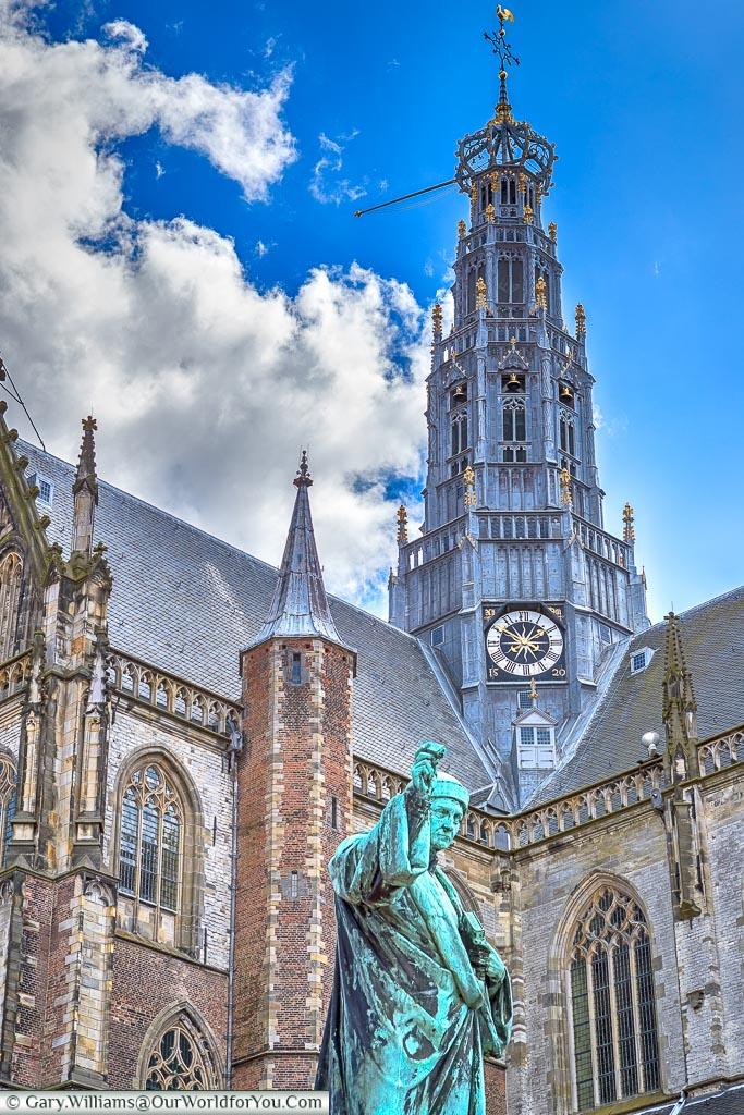 The spire of De Grote of St. Bavokerk te Haarlem, Holland, Netherlands