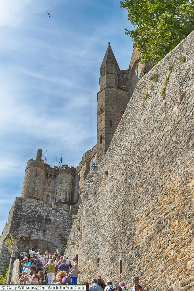 Further up Grand Rue, lined on one side by a massive stone wall as we head up towards the Abbey at the top of Mont-Saint-Michel.