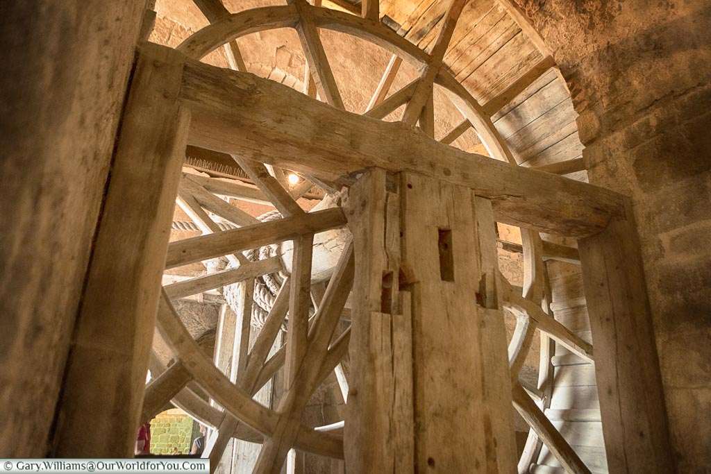 The giant, wooden, wheel, used for lifting goods from the lower levels of Mont-Saint-Michel Abbey.