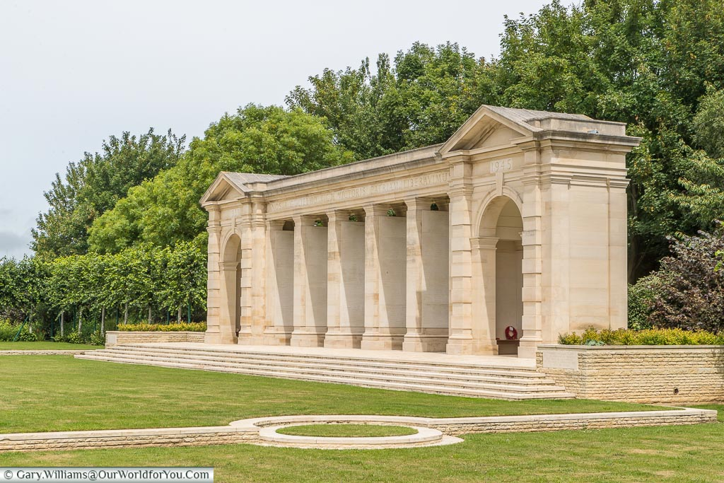 The Bayeux Memorial, at the Bayeux War Cemetery, which commemorates more than 1,800 casualties of the Commonwealth forces who died in Normandy and have no known grave.
