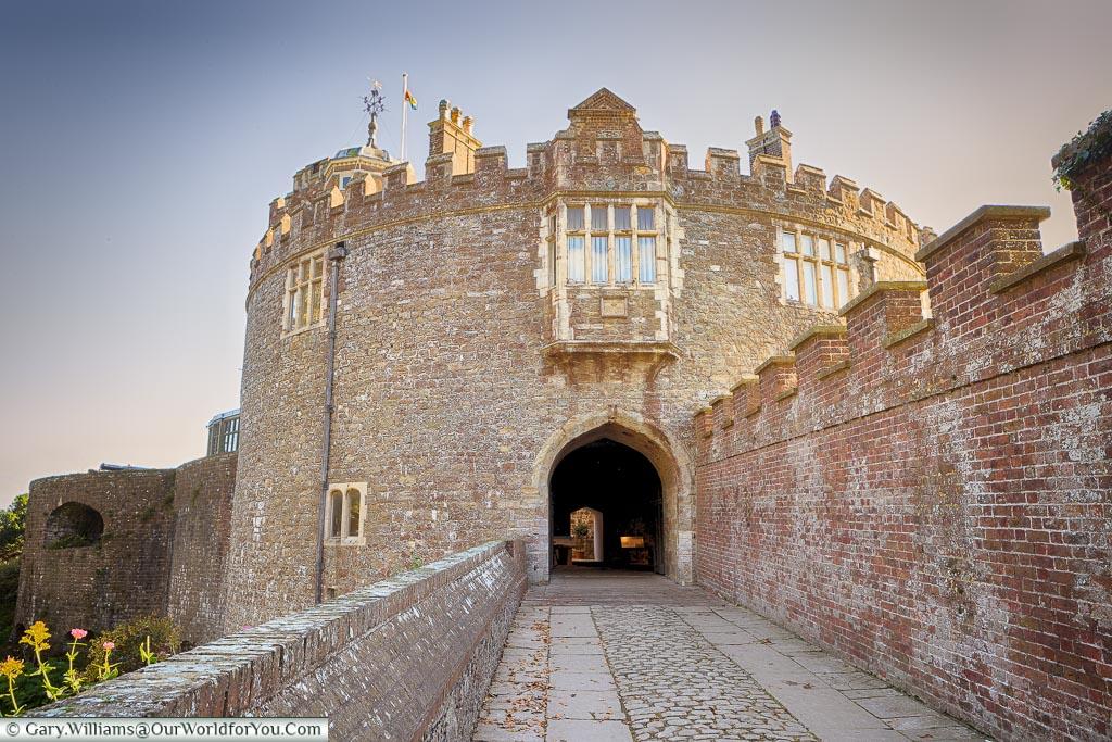 Walmer Castle entrance in the evening , Walmer Castle, Kent, England, UK