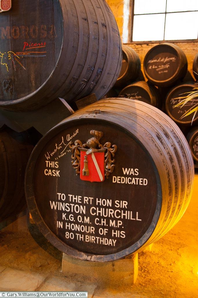 Winston Churchill's barrel, Tio Pepe, Gonzalez Byass, Jerez, Spain