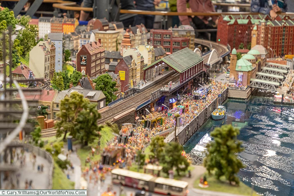 A party on the harbour front, Miniatur Wunderland, Hamburg, Germ