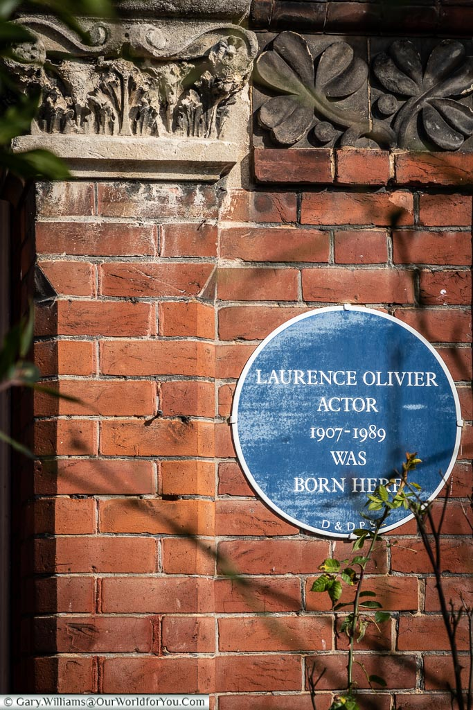Laurence Olivier's Blue Plaque, Dorking, Surrey, England, UK