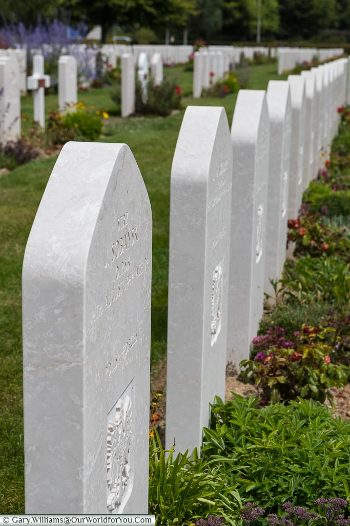 Many nations headstones at the cemetery in Bayeux, Normandy, France