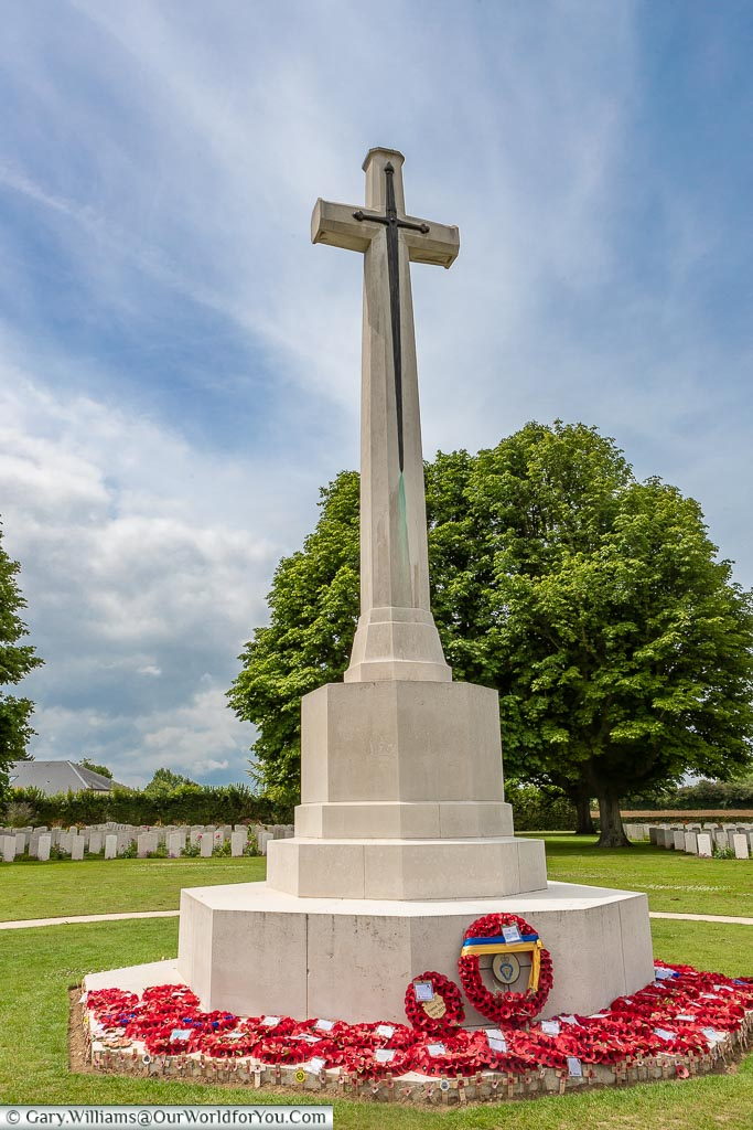 The Cross of Sacrifice at the Bayeux cemetery, Normandy, France