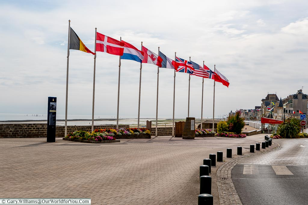 The flags of the liberators at Juno Beach, Normandy, France
