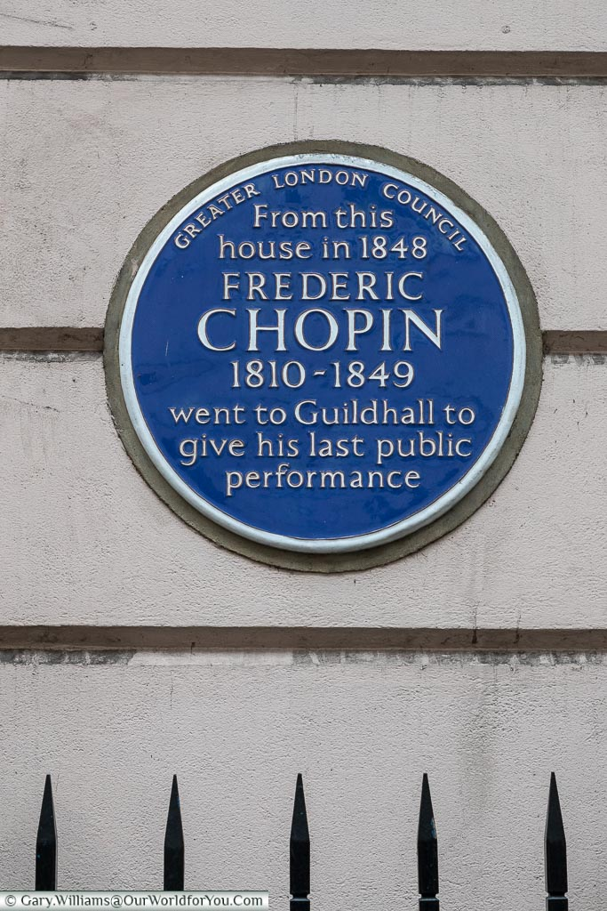 Blue Plaque to Frederic Chopin, St James's, City of Westminster, London, England, UK