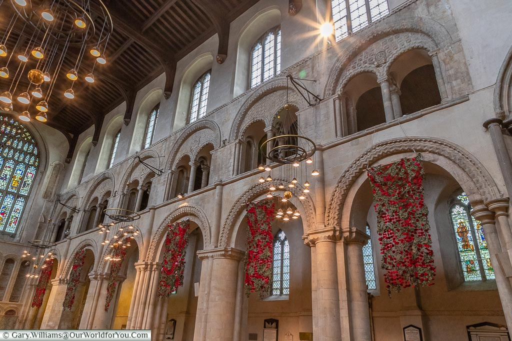 Inside, decorated with poppies, Rochester Cathedral, Rochester, Kent, England, UK