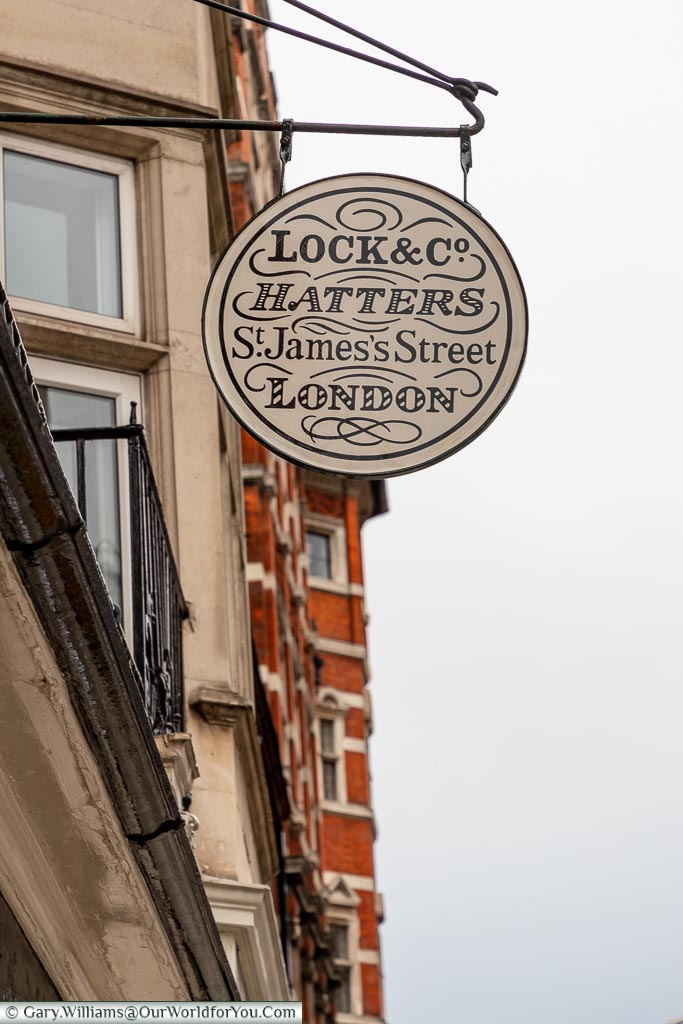 Lock & Co. Hatters sign, St James's, City of Westminster, London, England, UK