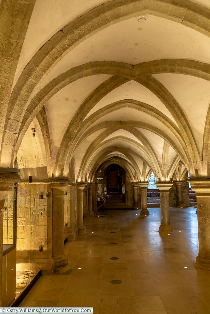 Medieval Crypt, Rochester Cathedral, Rochester, Kent, England, UK
