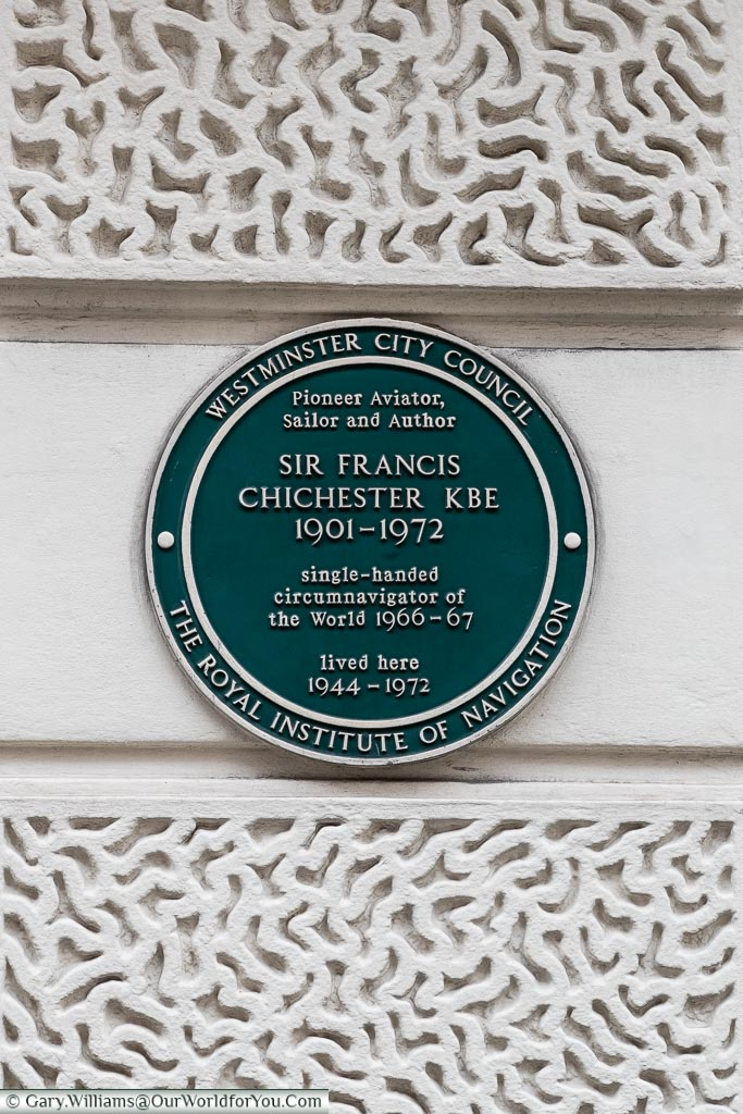 Plaque to Sir Francis Chichester KBE, St James's, City of Westminster, London, England, UK