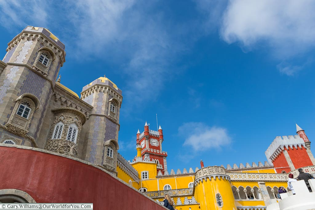 The multi-coloured, ornate fusion, of the Romanticist castle of the Pena Palace at Sintra, just a short train ride away from Central Lisbon.