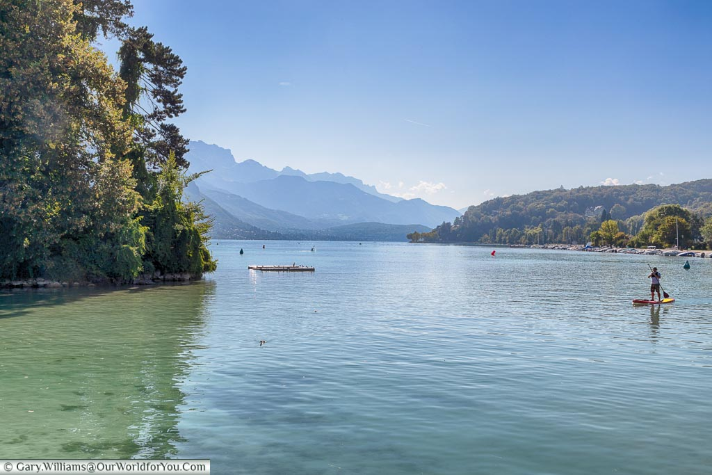 A view over Lake Annecy in the morning, France