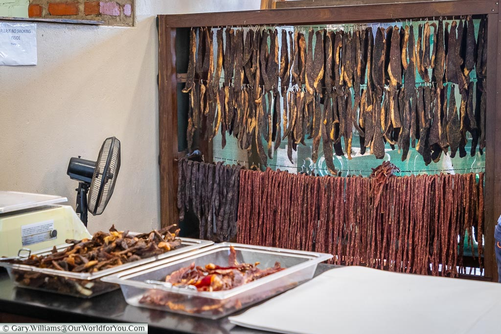 Biltong for sale at Lions Den, Zimbabwe, Africa