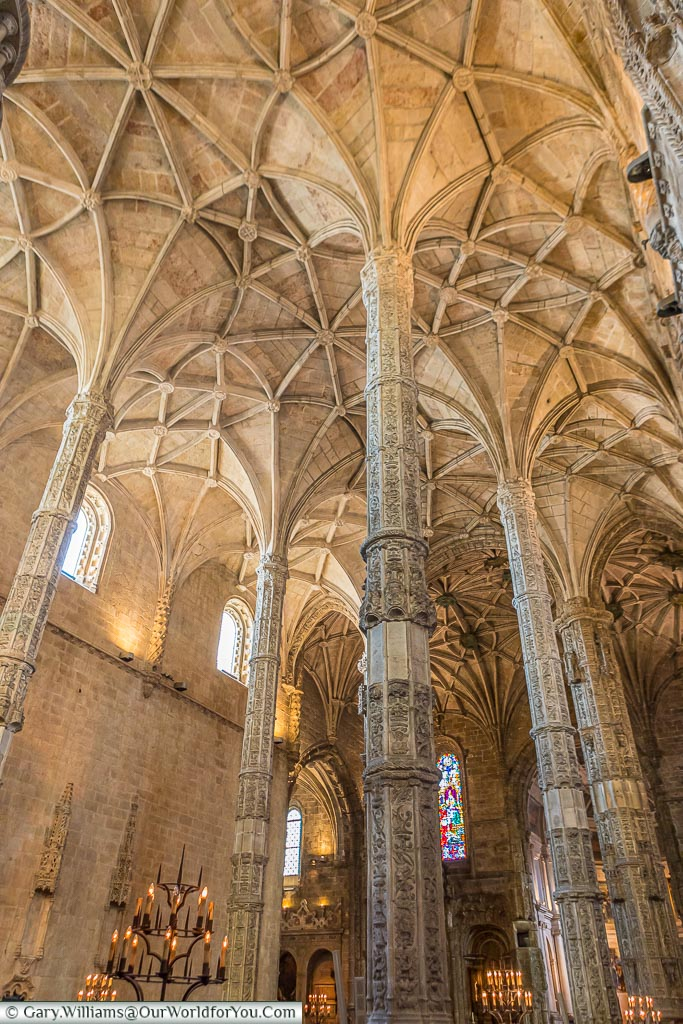 Columns inside the Mosteiro dos Jerónimos, UNESCO, Lisbon, Portugal